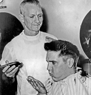 Opps!  Elvis loses that wonderful hair to an Army Crew cut