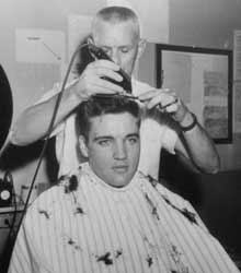 Wow This Guy Really is trimming Elvis with an Army Crew cut!