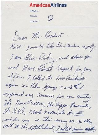 Elvis Letter to President Nixon