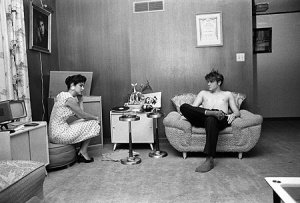 Teen Elvis listening to records with a high school friend