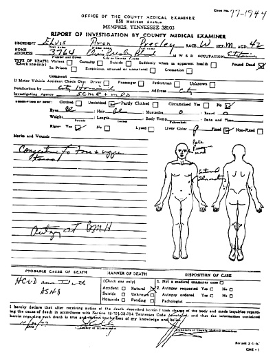 Elvis Autopsy Report Page 1