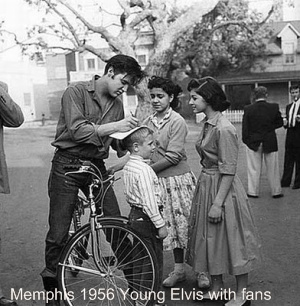 Young Elvis with fans on the streets of Memphis